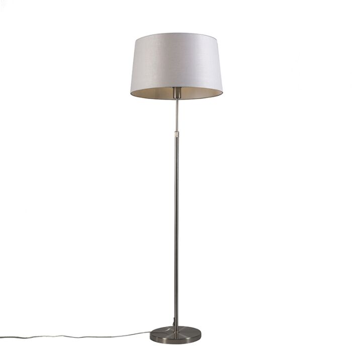Floor-lamp-steel-with-shade-light-gray-45-cm-adjustable---Parte