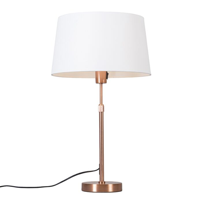 Copper-table-lamp-with-shade-white-35-cm-adjustable---Parte