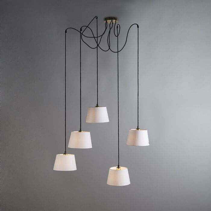 Pendant-Lamp-Cava-5-Gold-with-White-Shades