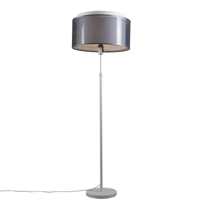 Floor-lamp-white-with-black-/-white-shade-47-cm-adjustable---Parte