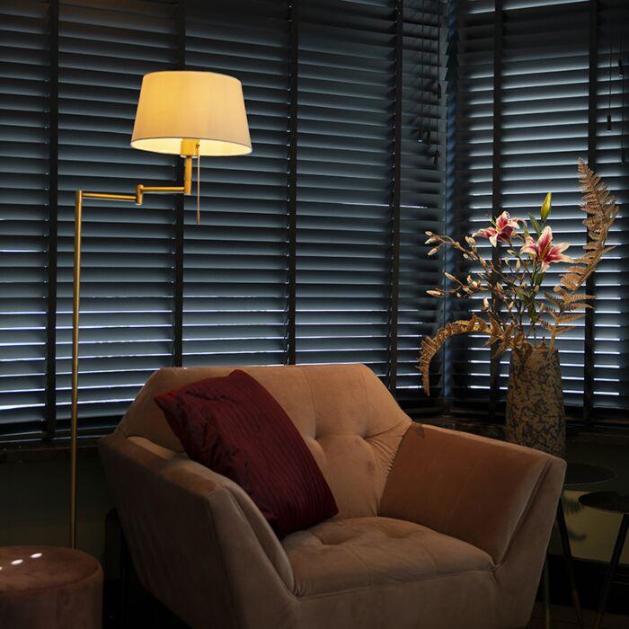 Classic-floor-lamp-bronze-with-white-shade-adjustable---Ladas