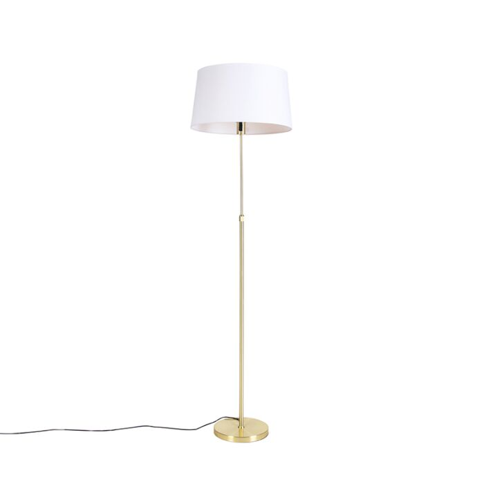 Floor-lamp-Gold/Brass-with-45cm-White-Linen-Shade---Parte