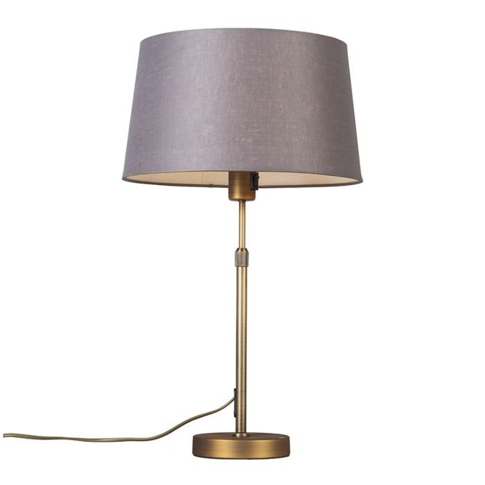 Table-lamp-bronze-with-shade-brown-/-gray-35-cm-adjustable---Parte