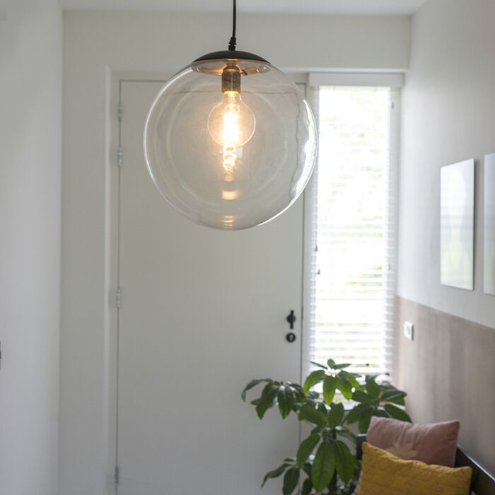 Modern-Pendant-Lamp-35cm-Black-with-Clear-Glass-Shade---Pallon