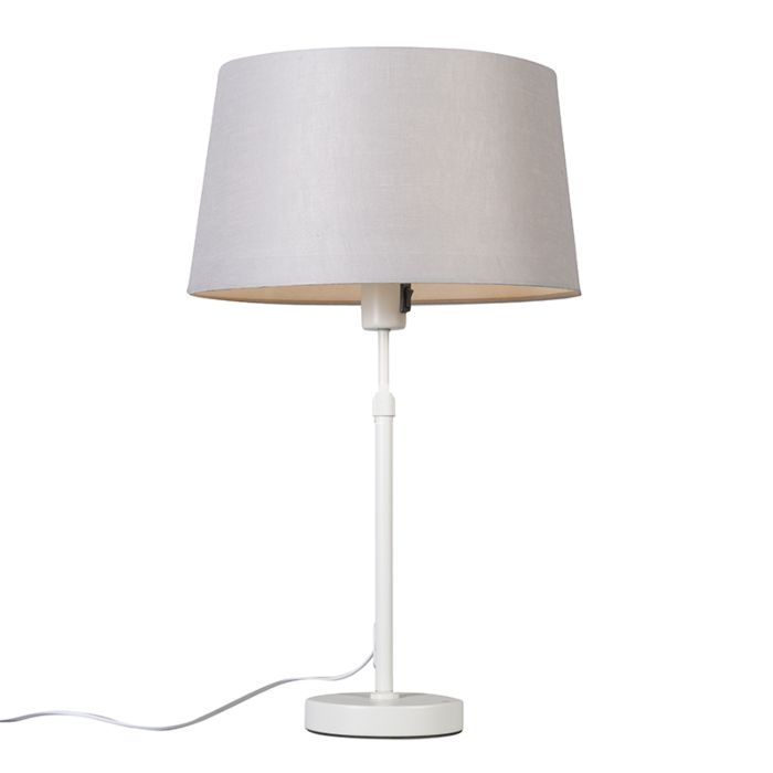 Table-lamp-white-with-shade-light-gray-35-cm-adjustable---Parte