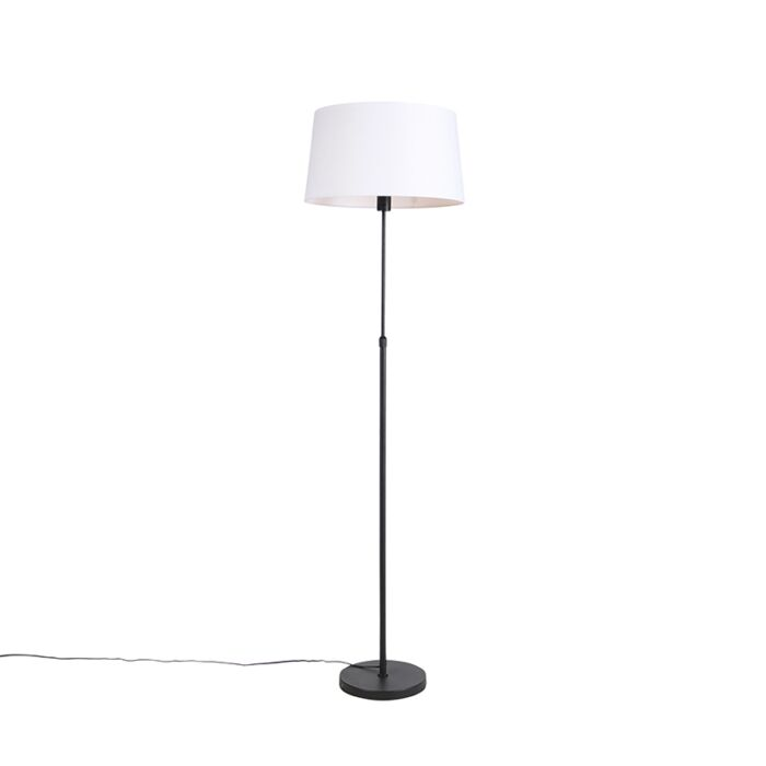 Black-floor-lamp-with-white-linen-shade-45-cm-adjustable---Parte