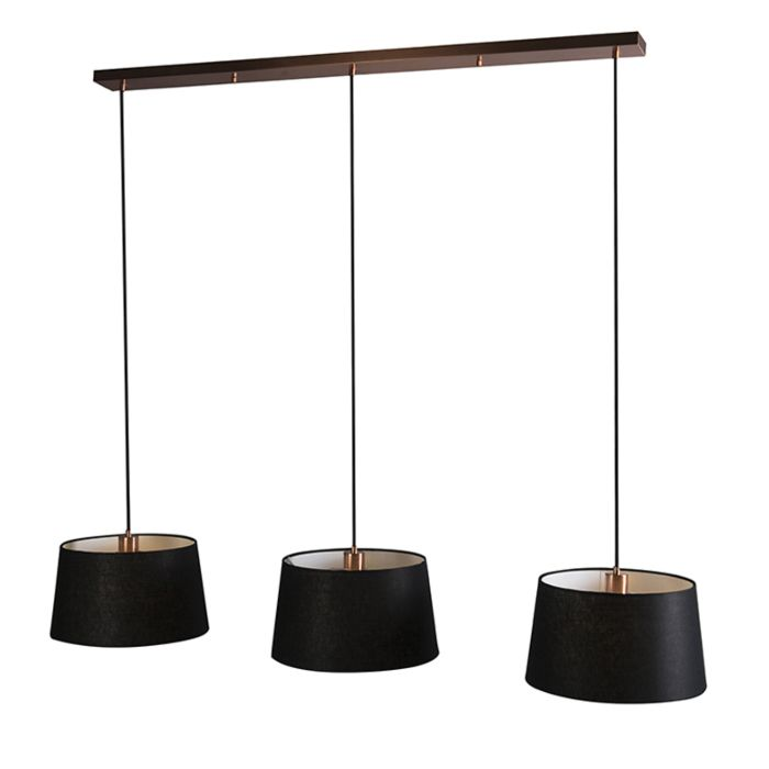 Pendant-Lamp-Combi-3-Copper-with-Black-Shades