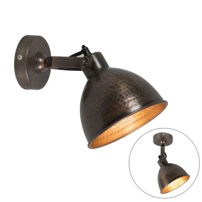 Industrial-wall-lamp-copper-with-brass-adjustable---Liko