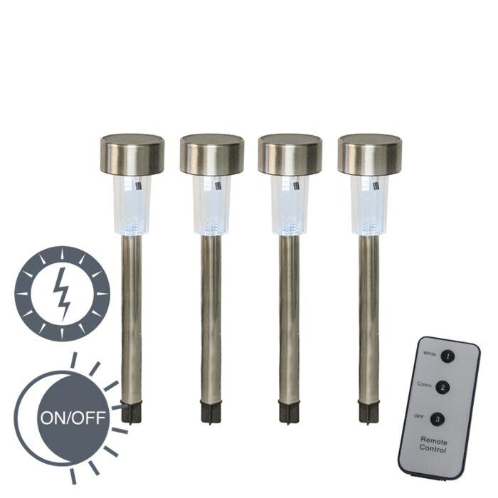 Set-of-4-Spike-Spotlight-Espi-Steel-LED-Solar