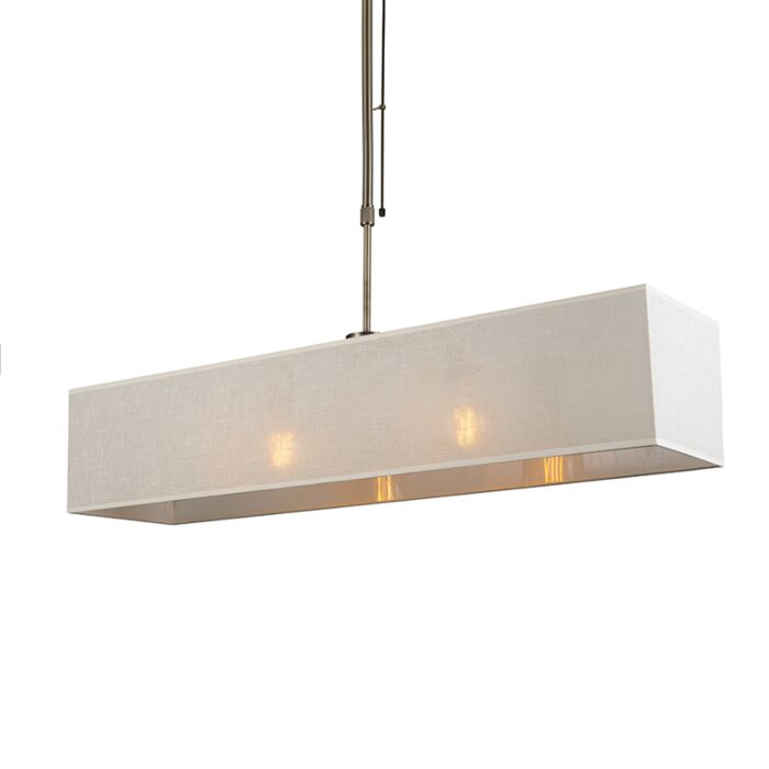 Pendant-Lamp-Mix-2-Bronze-Dimmable-with-Rectangle-Cream-Shade