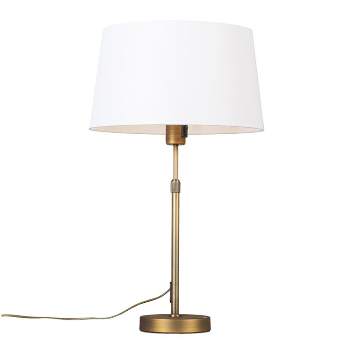 Table-lamp-bronze-with-shade-white-35-cm-adjustable---Parte