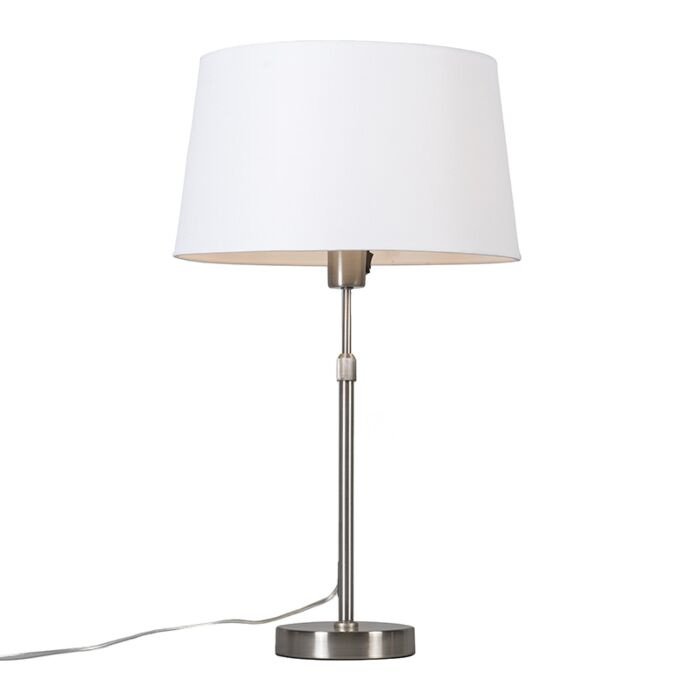 Table-lamp-steel-with-shade-white-35-cm-adjustable---Parte