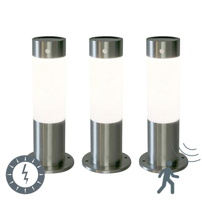 Set-of-3-Outdoor-Pole-Rox-30cm-Steel-Solar-and-Motion-Sensor