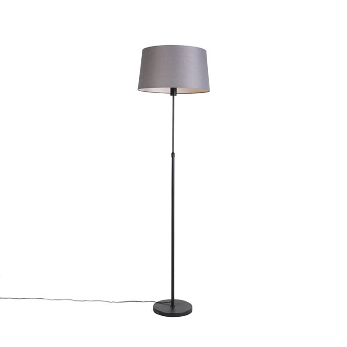 Floor-lamp-black-with-dark-gray-linen-shade-45-cm---Parte
