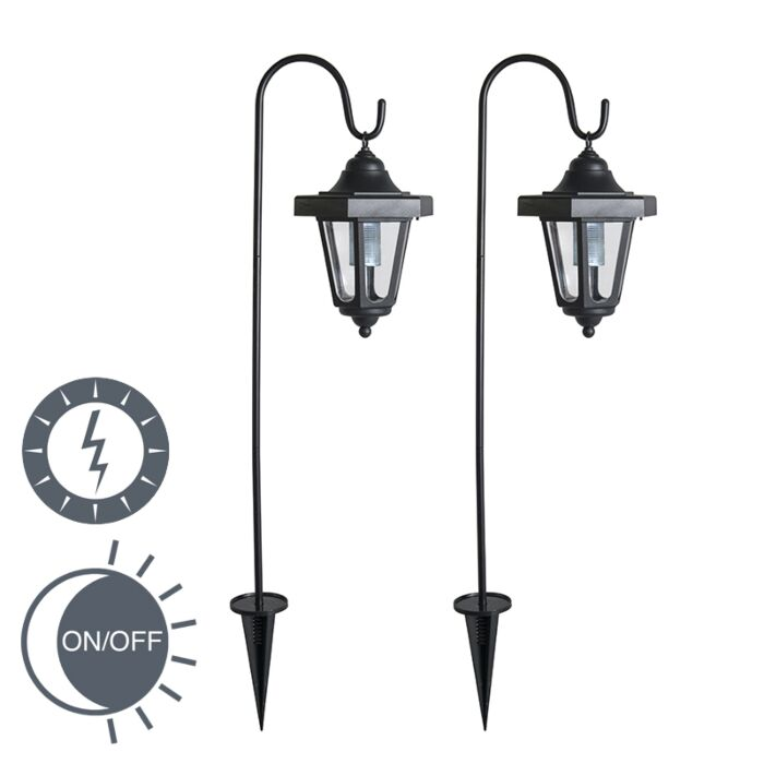 Set-of-2-Spike-Spotlight-Lintera-Black-LED-Solar
