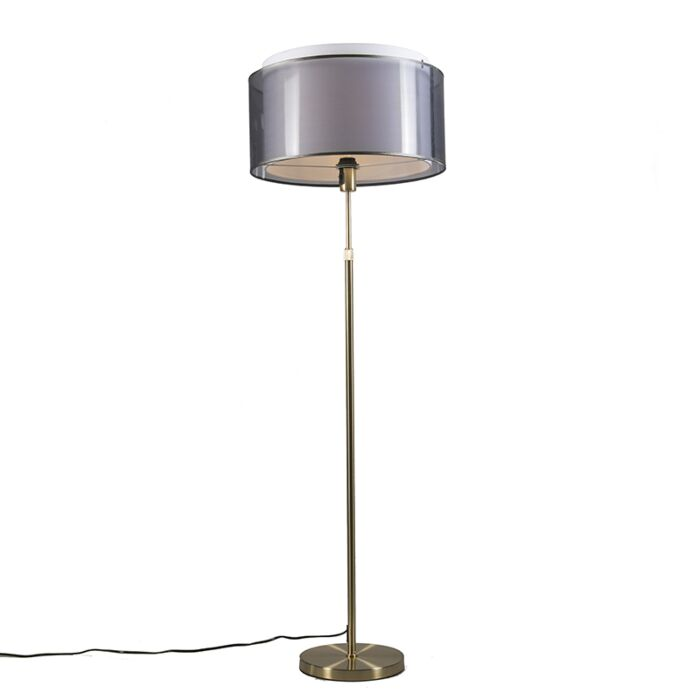 Floor-Lamp-Gold/Brass-with-47cm-Black/White-Shade---Parte
