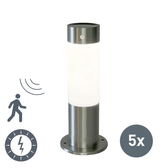 Set-of-5-Outdoor-Pole-Rox-30cm-Steel-Solar-and-Motion-Sensor