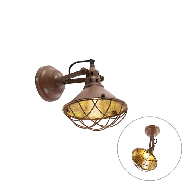 Vintage-wall-and-ceiling-lamp-rust-brown-tiltable---Barrack