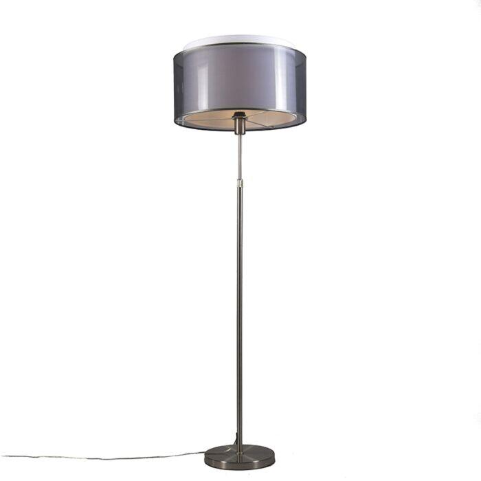 Floor-Lamp-Steel-with-47cm-Black/White-Shade---Parte