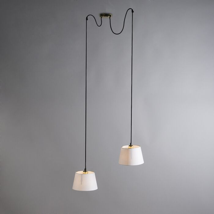 Pendant-Lamp-Cava-2-Gold-with-White-Shades