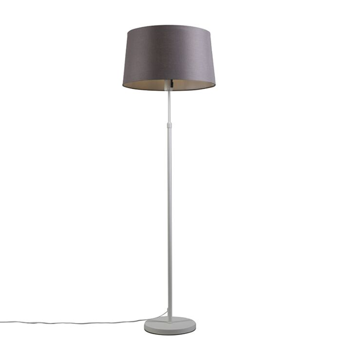 Floor-lamp-white-with-shade-gray-/-brown-45-cm-adjustable---Parte