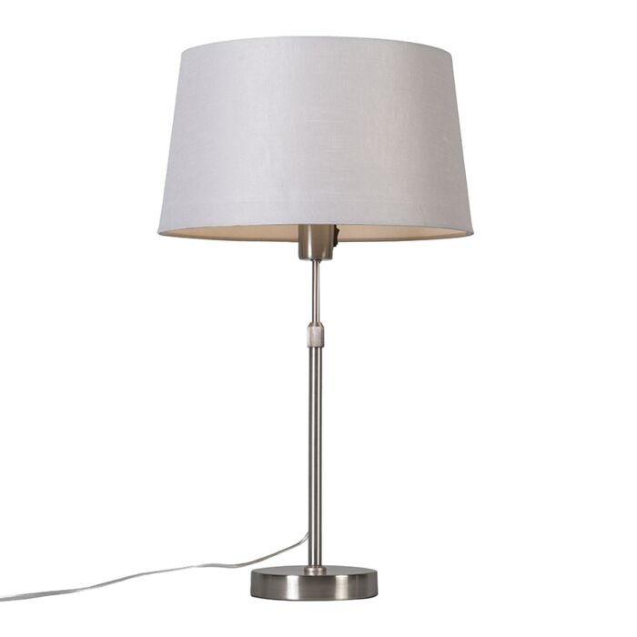 Table-lamp-steel-with-shade-light-gray-35-cm-adjustable---Parte