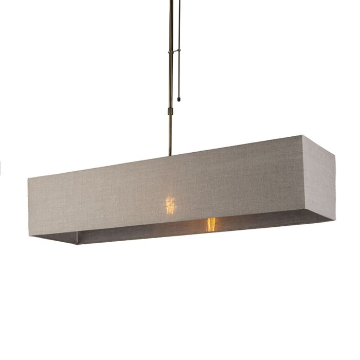 Pendant-Lamp-Mix-1-Dimmable-Bronze-with-Rectangle-Light-Brown-Shade