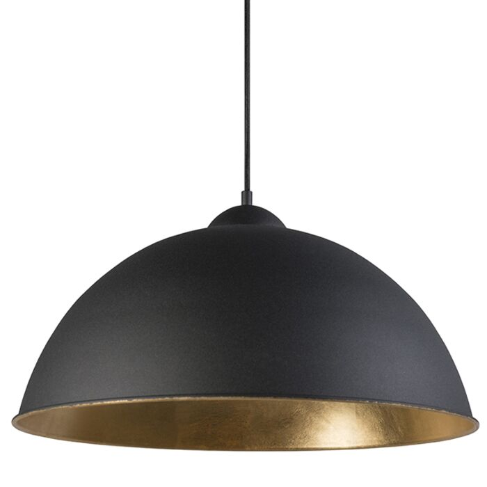 Country-Round-Pendant-Lamp-Black-with-Gold-50cm---Magna