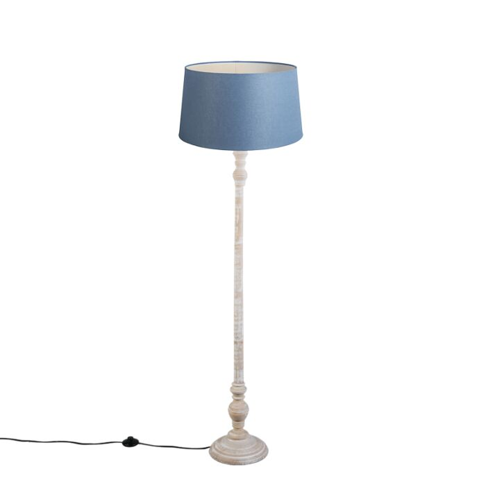 Floor-Lamp-Classico-with-Blue-Linen-Shade-45cm