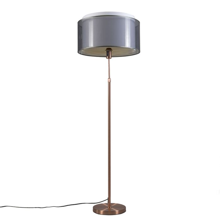 Copper-floor-lamp-with-black-/-white-shade-47-cm-adjustable---Parte