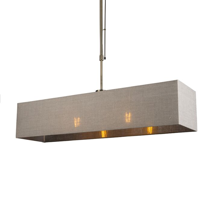 Pendant-Lamp-Mix-2-Dimmable-Bronze-with-Rectangle-Light-Brown-Shade