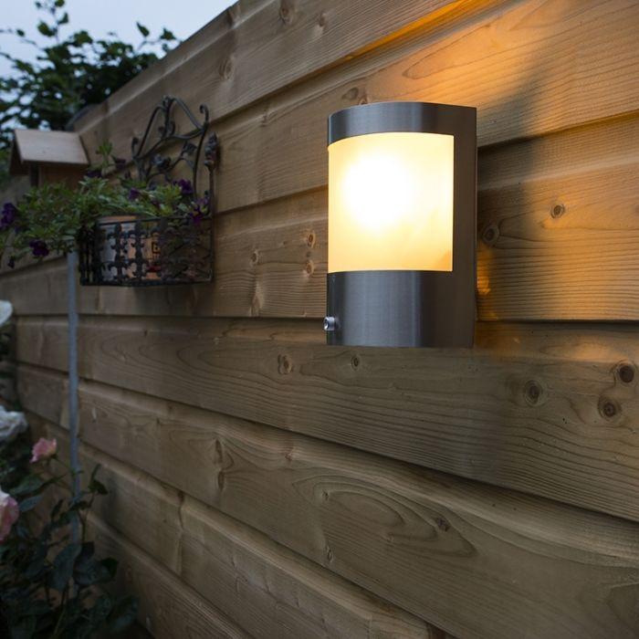 Outdoor-wall-light-stainless-steel-light-dark-sensor---Mira