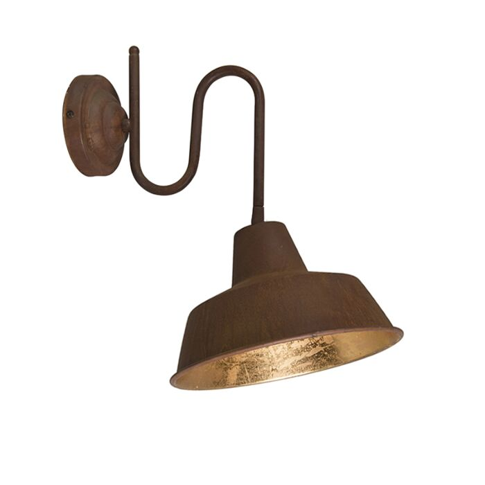 Industrial-wall-lamp-rust-with-golden-interior---Factory