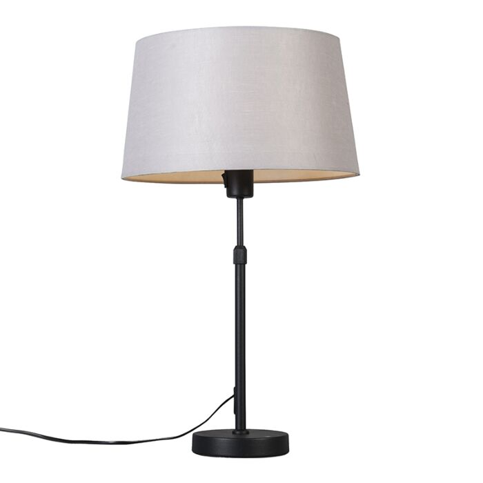 Table-lamp-black-with-shade-light-gray-35-cm-adjustable---Parte