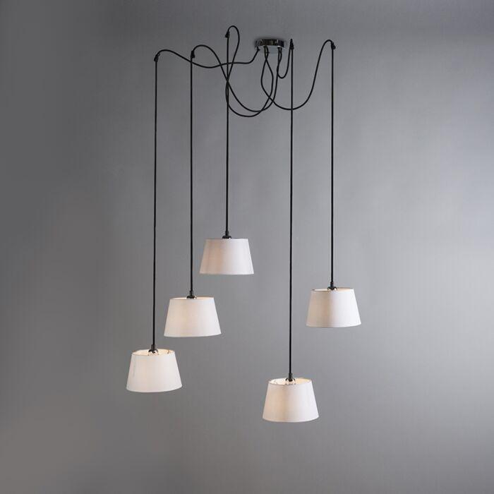 Pendant-Lamp-Cava-5-Chrome-with-White-Shades