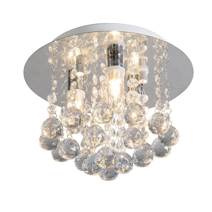 Ceiling-Lamp-Perlin-White-with-Clear-Crystal-Droplets