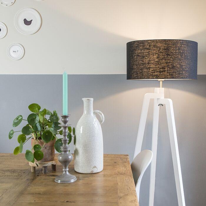 Floor-lamp-tripod-white-with-shade-50-cm-black---Puros
