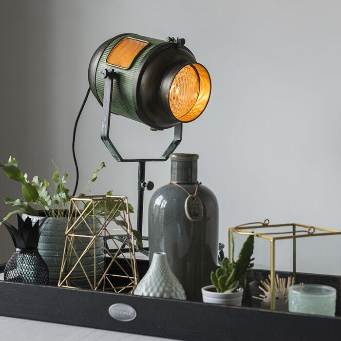 Vintage-Film-Spotlight-Table-Lamp-Antique-Green-and-Bronze-60cm---Byron