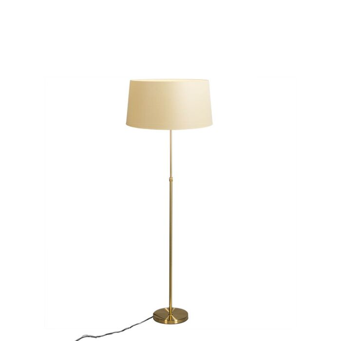Floor-lamp-gold-/-brass-with-shade-cream-45-cm-adjustable---Parte