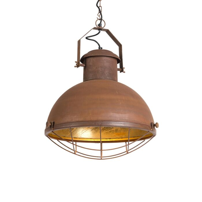 Pendant-Lamp-Engine-Rust-with-Gold-inner-Shade