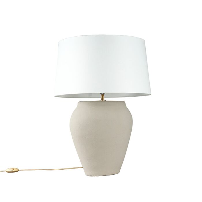 Table-Lamp-Blava-Oval-Grey-with-White-Shade