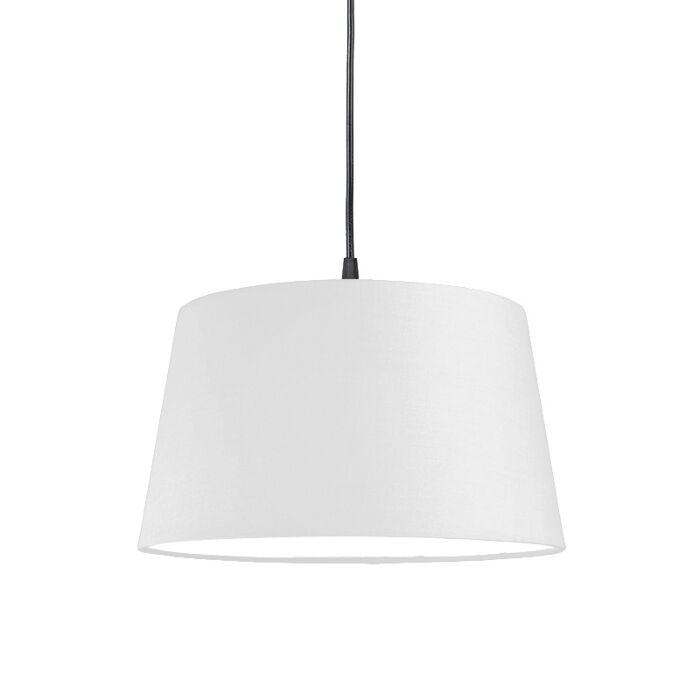 Modern-hanging-lamp-black-with-white-shade-45-cm---pendant