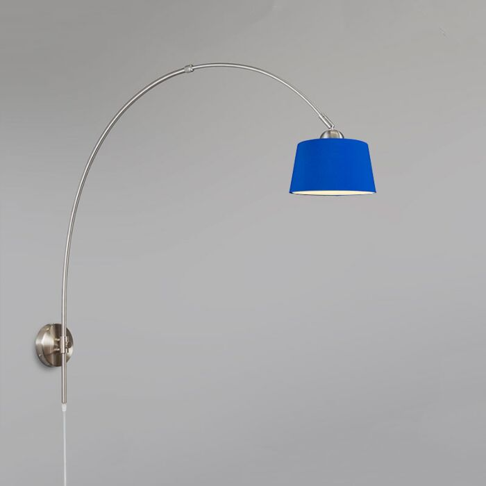 Arc-Wall-Lamp-Steel-with-30cm-Shade-Blue