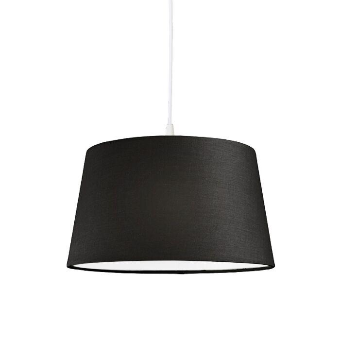 Modern-hanging-lamp-white-with-black-shade-45-cm---Pendant