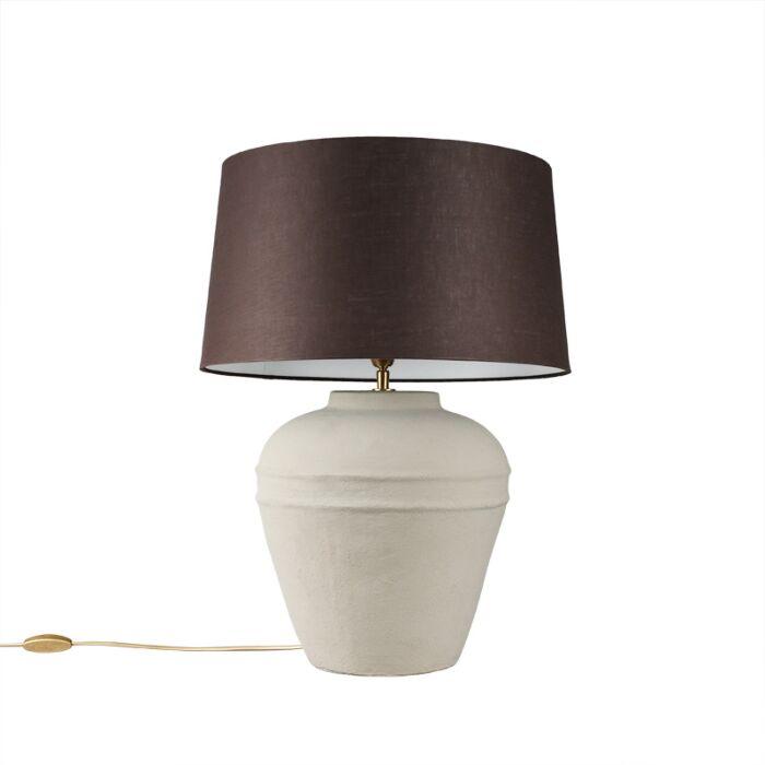Table-Lamp-Arta-Small-Grey-with-Brown-Grey-Shade