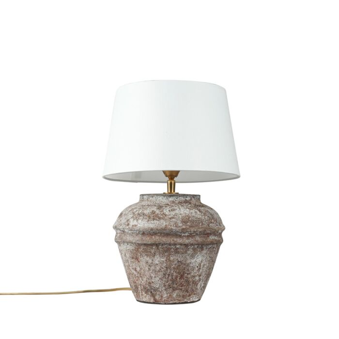 Rural-table-lamp-brown-with-white-shade---Arta-XS-vintage