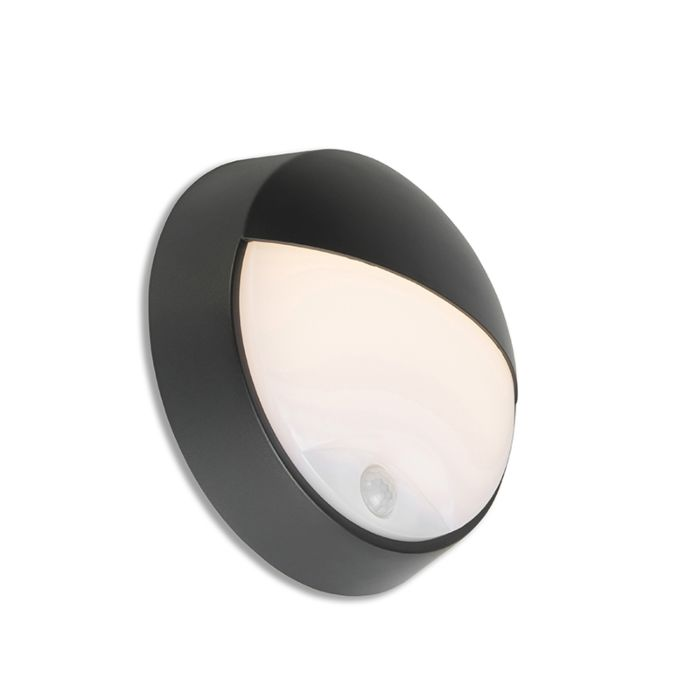 Exterior-wall-light-black-incl.-LED-with-motion-sensor-IP54---Hortus