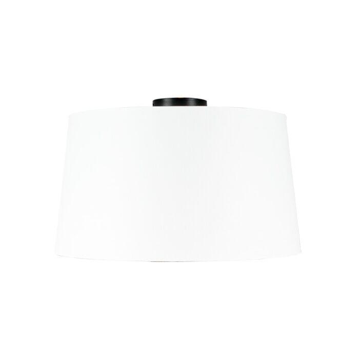 Ceiling-lamp-matt-black-with-white-shade-45-cm---Combi