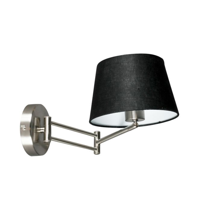 Wall-Lamp-Combi-Adjustable-Steel-with-Black-Shade