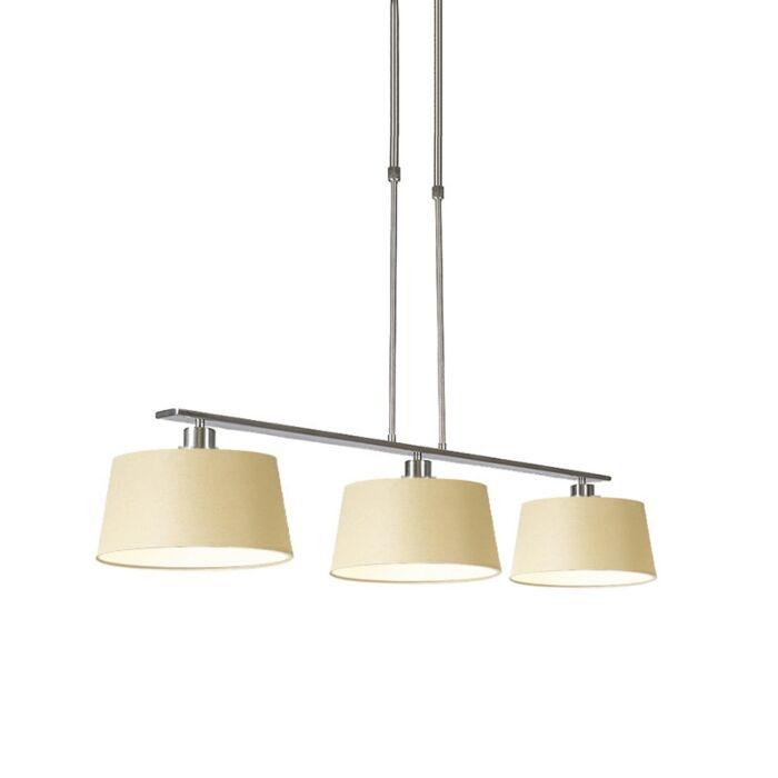 Pendant-Lamp-Combi-3-Deluxe-Steel-with-Cream-Shades